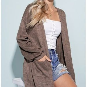 Heathered Brown Button down detailed cardigan